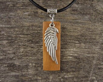 Guardian Angel Wing Pendant, Angel Wing Charm Necklace, Olive Wood Christian Jewelry, Leather Angel Wing Pendant Necklace