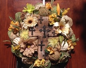 Old Rugged Cross Burlap and Mesh Wreath
