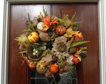 Bird and Birdsnest Fall Burlap and Mesh Wreath