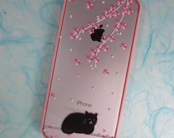 SALE! iPhone 6 / 6S Case - Sakura & Black Cat