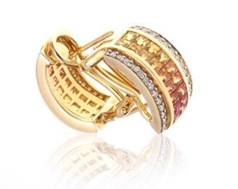 Multicolor Sunset Sapphire & Diamond 18K Gold Earrings (3.10ct tw) SKU: 12502 + 12504