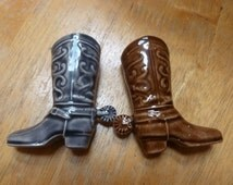 Pottery Cowboy boots with spurs sales sample