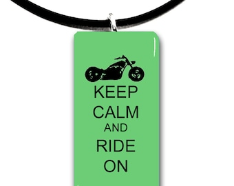 Chopper chick, Keep Calm and Ride on, Motorcycle riding, glass tile pendant, biker chick, motor, biker, ride,rider, chopper
