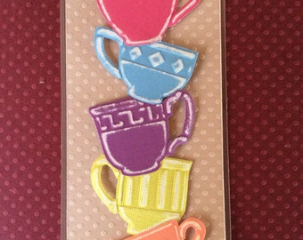 Handmade, embossed Gift tag/gift card size 2 1/2 X 6 inches