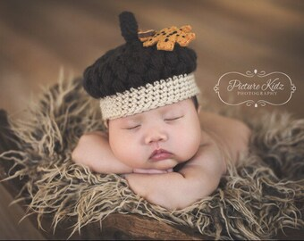 Ready to ship - Little Acorn Crochet Hat - newborn size only - Photo Prop - Made to order - two are ready to ship - acorn fall hat - Newborn
