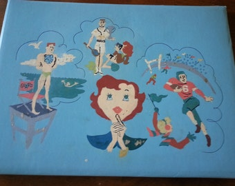 Vintage hand painted, paint by number, blank scrapbook, 1956