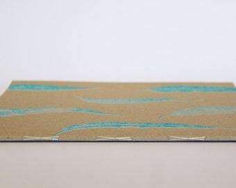 Handmade, Large Blank, Blue Gum Leaf Notebook, Art Diary, Journal