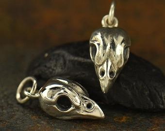 Sterling Silver Sparrow Bird Skull Charm