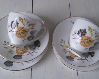 Queen Anne 'Ashley' Bone China Tea For Two -Mustard & Grey Leaf Pattern Trios