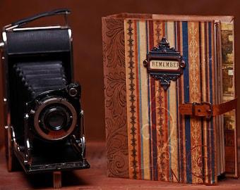 Scrapbook Album for Photos - Masculine Album, Vintage, Faux Leather Closure, Interactive, Bo Bunny Paper Collection