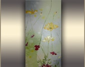 "Spring Flowers 36""x18""  ORIGINAL Painting Abstract Flower Painting Red Flowers Oil Painting ORIGINAL Art Abstract Art Valentine gift for her"