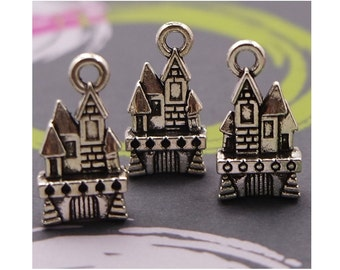 6 Fairy Tale Castle Charms Pendants Detailed Silver Tone Princess Castles Once Upon a Time Charm 21x11mm