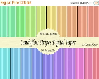 """65% OFF INSTANT DOWNLOAD - Digital Scrapbook Paper Pack - Candyfloss Stripes - No.9 - 20 12""""x12"""" Digital Papers"""