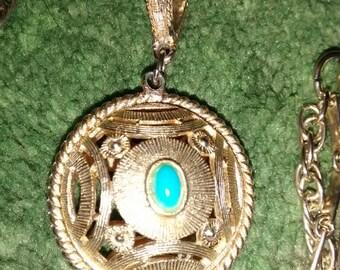 Turquoise Pendant Double Chain