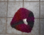 Reserved for Beth -- FUNDRAISER - Pink/orange/grey crocheted cowl