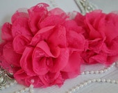 Set of 2 Large Hot pink lace fabric flowers, shabby chic flower, flower applique, headband supply, wholesale flowers