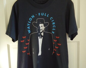 Vintage 80s WAYLON JENNINGS Full Circle Concert T Shirt sz S