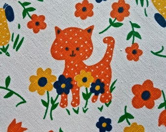 "Vintage Juvenile Cat Print Fabric 3 1/2 yd. x 44"" wide"