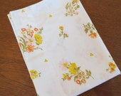 "Vintage Pillowcase - Yellow and Orange Floral - 29"" x 19"""