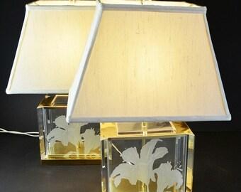Fredrick Ramond Lamp, Brass and Clear Retro Lighting, Asiatic Lily silk shade, Hollywood Regency Decor