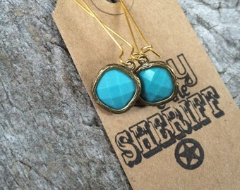 Opaque Turquoise  Square Gem Earrings