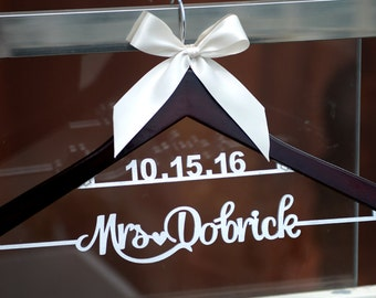 Wedding Hanger personalized with Name and Date, Rustic Wedding Dress Hanger,  Custom Wood Bridal Last Name Hanger, Bridal Shower Gift LL009