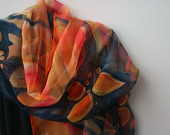 Hand Painted Transparent Chiffon Orange and Black Scarf for Ladies.  Coral, Orange, Black. Long 18 x 71 inch  Abstract Scarf Made by Artist