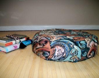 "Zafu Meditation Cushion. Floor Pillow. Contemporary Swirl Print. UNFILLED COVER. 6""Sidewall Zipper. 15x5. USA made"
