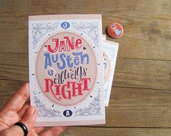 Earthquake Italy Aid - 3 Jane Austen is Right cards, illustrated cards with envelopes