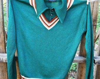 Mens Vintage Campus Collegiate Green Sweater Size Medium