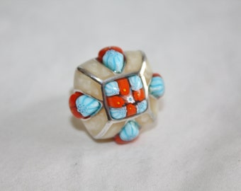 Vintage Alan K Silver Ring, Sterling Modernist Ring, Vintage Boho Jewelry, Murano Glass Millefiori Jewelry