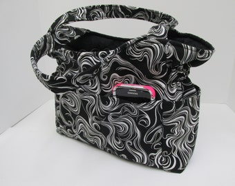 Black White Adult Bag, Black Purse White Marble, Many Inside Pockets, Quilted Cotton Purse,Tote Bag, Diaper Bag, Fabric Purse, Sling Bag