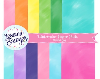 INSTANT DOWNLOAD - Watercolor Digital Paper Pack for Personal and Commercial Use
