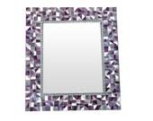 Mosaic Wall Mirror // Purple, Silver, Gray // Large Decorative Mirror