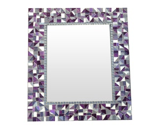 Mosaic Wall Mirror // Purple, Silver, Gray // Large Decorative Mirror