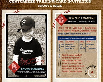 Customizable Team Baseball Trading Card Party Invitation 4 x 6 or 2.5 x 3.5 Digital File Only Front and Back