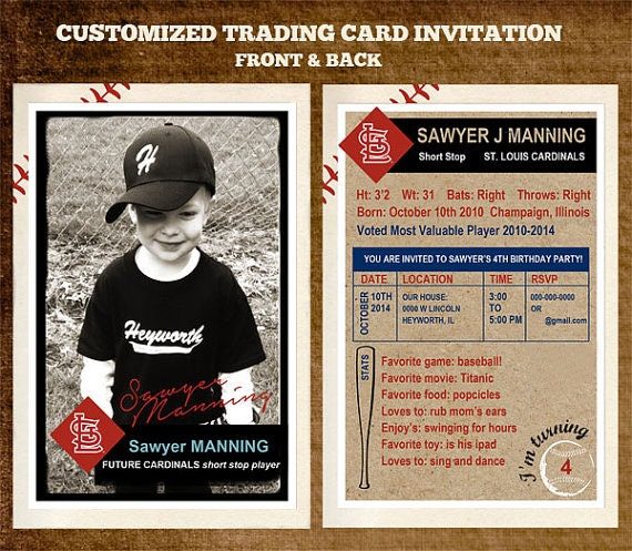 Customizable team baseball trading card party by longfellowdesigns for Baseball card back template