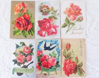 Vintage Postcard Lot Roses 6 Postcards Floral Flowers