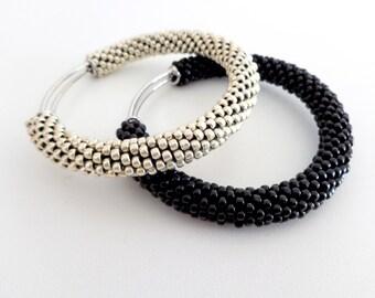 Brass Bracelets/Aluminium Bangle/Black Bangle/Bangle Bracelets Set/Beaded Accessories/Crocheted bracelets