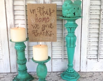 Turquoise Green Bird Theme Candle Holder - Pillar and  Tea Light Holders - Table Top Decor - Candle Holder - Cottage Chic