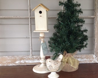 "Cottage Chic Birdhouse & Bird on Pedestals - 18"" Tall Table Top Bird Decor"