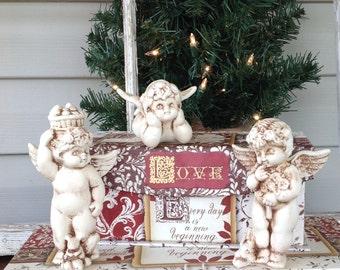 3 Chubby Cherub Figurines - Valentines Day Cherubs