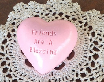 Light Pink Heart Rock w/Etched Phrase 'Friends Are A Blessing'