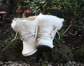 custom order white  rabbit boots for Marg