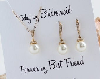 Pearl Bridesmaid Gift, Bridesmaid Jewelry Set, Single Pearl Pendant & earrings Set, Bridesmaid card,  Wedding Jewelry, Bridal party gift