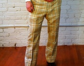 Earth Tone Plaid 1950s Vintage Lightweight Wool Trousers 34 X 28 Hopsack Pants Beige Green Gold Dartmouth Outfitters James Campion Corbin