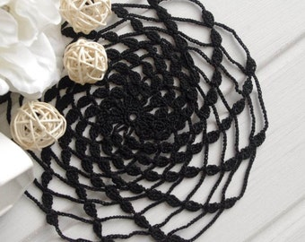 Black crochet doily Small lace doilies Cotton centerpiece crochet coaster Mill motif 303