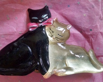 Black and White Cats Barrette Clip