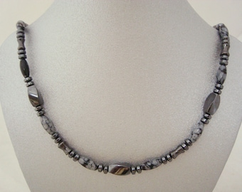 Magnetic Hematite Necklace with Snowflake Obsidian Accents