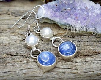 Sterling Silver Pearl and Blue Kyanite Earrings- 925 handmade meditation energy dangle drop gemstone jewelry